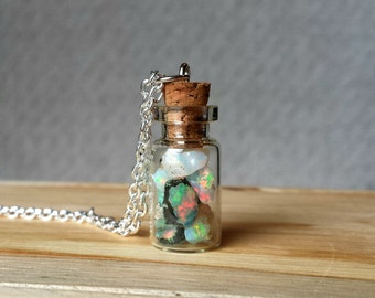 Rough Opal Bottle Necklace*Sterling Silver chain*