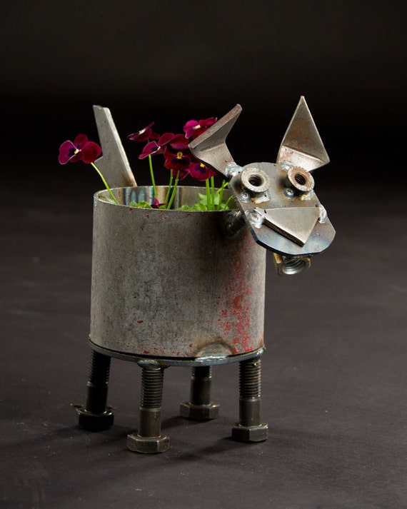 Scrap Metal Dog Flower Pot Planter By Ironmaidart On Etsy