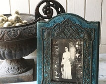 1800s antique French velvet and metal picture frame, 19th century French velvet frame