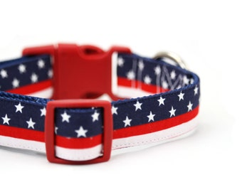 American Flag Dog Collar July 4th Red White Blue Patriotic Stars and Stripes Dog Collar