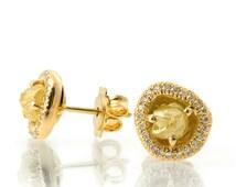 Raw Diamond Earrings, 18K Gold and Rough Diamond Studs, Unique Earrings, rough diamond studs, raw diamond studs