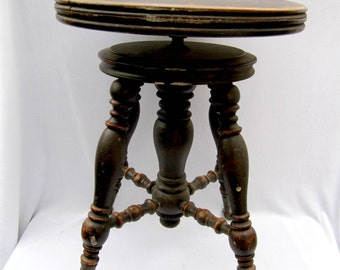 Piano Stool Holtzman and Sons Vintage Wood Stool Home Decor Antique Glass Claw Feet Accent Table