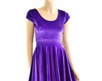 Purple Stretch Velvet Cap Sleeve Skater Dress Fit & Flare 152363