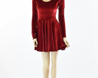 Red Velvet Long Sleeve Fit and Flare Skater Dress 151866