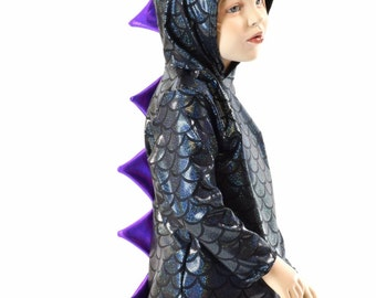 Childrens Black Dragon Scale Long Sleeve Hoodie with Purple Holographic Spikes   Kids Sizes 2T 3T 4T and 5-12 Toothless   152045