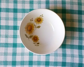 Vintage Johnson Brothers Snowhite Ironstone White & Yellow Sunflower Serving Bowl - Made in England