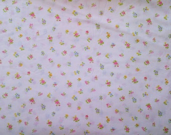 Sears & Roebuck Co. White and Pink Blue Yellow Floral Print Twin Single Size Flat Bed Sheet