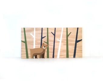 Woodland Nursery Art - Woodland Animals - Nursery Wall Art - Bear Nursery Decor - Rustic Wood Wall Art - Bear Art - Kids Animal Art