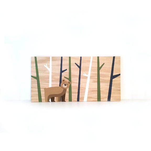 Nursery Wood Wall Decor : Wood nursery wall art bear decor woodland