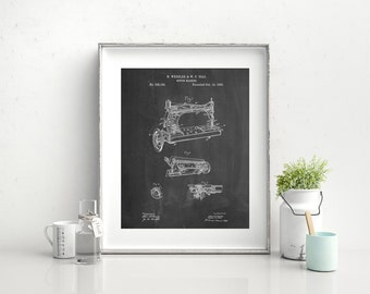 Sewing Machine Patent Poster, Industrial Art, Sewing Machine Decor, Sewing Machine Print, Antique Sewing Machine, PP0037 Z1016