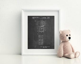 Children's Building Block, Vintage Toys, Learning Toys, Retro Toys, Play Room Wall Art, PP0674