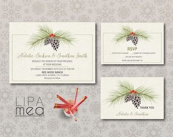 Winter Wedding Invitation Printable, Christmas Wedding Invitation, Pinecone Wedding Invitation Set, Printable Wedding Invitation