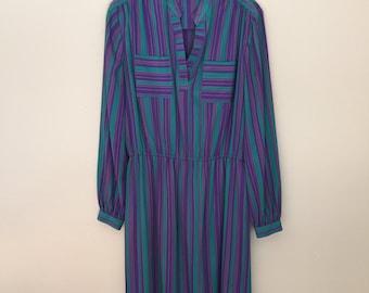 Purple & Green Striped Midi Dress