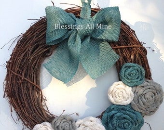 18 inch Grapevine Wreath, Teal Turquoise, White, & Gray Burlap Flowers, Turquoise Bow/Hanger, Spring Summer Fall Autumn Winter Wreath Gift
