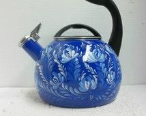 Tea Kettle Blue Enamel Hand Painted Design Whistling Blue and White Scandinavian Art Swedish Norwegian Rosemaling Folk Art Kitchen Decor