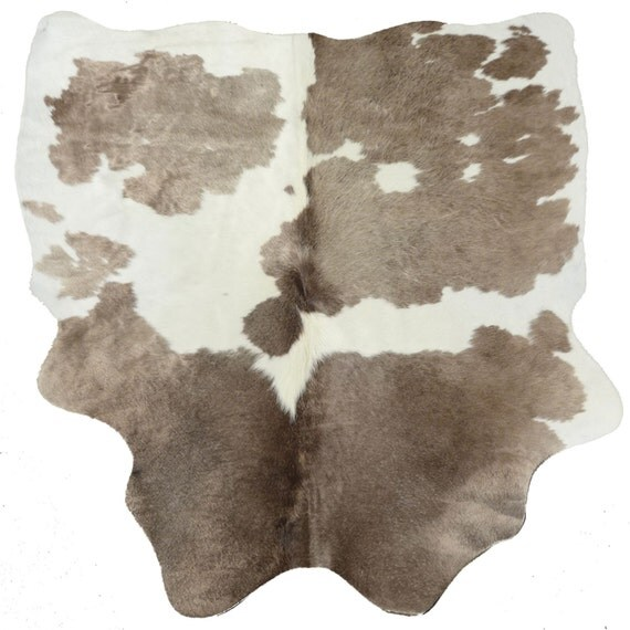 HOLD Cowhide Rug Cow Hide Leather Taupe White