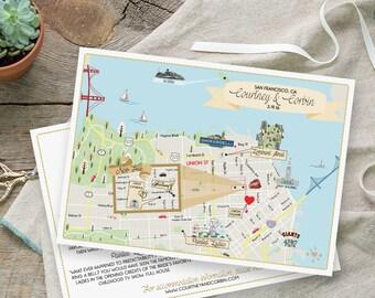 Custom Map, San Francisco Map, Wedding Map ,Destination Wedding, California Map Design, Custom Illustrated Map, Wedding Itinerary, Guest bag