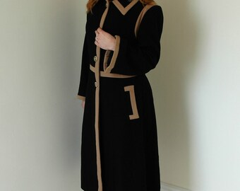Vintage wool black & fawn coat 40's style with bell sleeves in a generous size