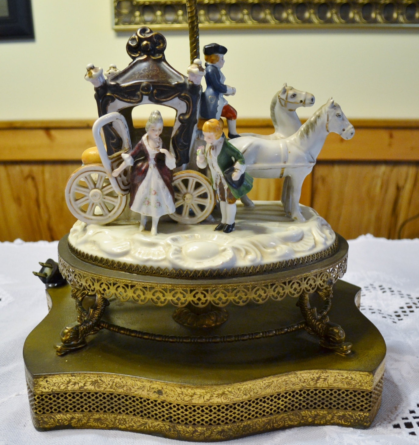 Vintage Dresden Style Table Lamp Porcelain Horse Carriage