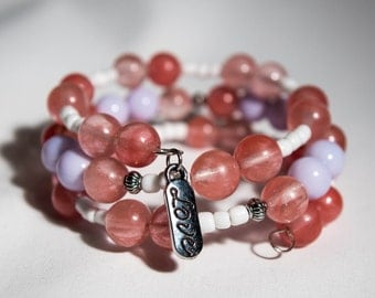 Cherry and Gray Glass Memory Wire Bracelet