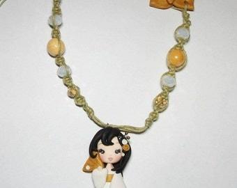 geisha necklace, polymer clay, macramé