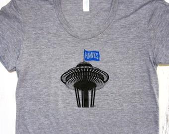 Womens Seattle Seahawks shirt. Space needle shirt. Seattle football shirt. American apparel.