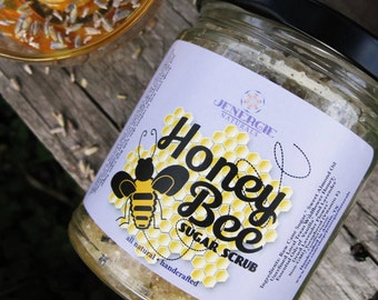 Honey Bee Sugar Scrub / Lavender & Vanilla / Organic Ingredients