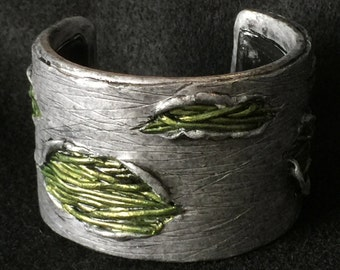 Cuff Bracelet Bangle Boho Polymer Clay Mid Century Modern Jewelry EXPOSURE by Donna Pellegata ArtCirque