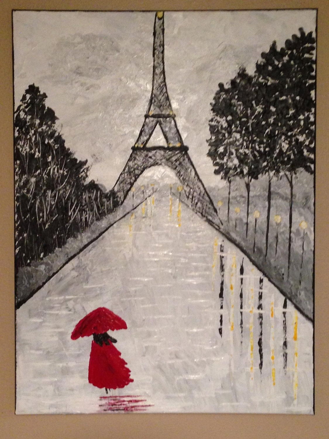 Rainy Day In Paris Eiffel Tower Paintingparis