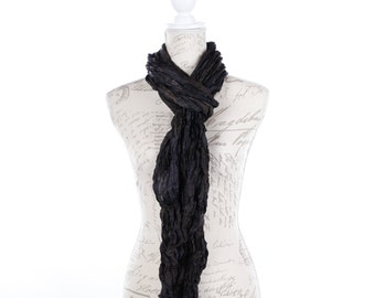 Boho black silk scarf / scarf girlfriend gift / long travel scarf black / boho chic black scarf / thin silk black scarf / travel scarf /