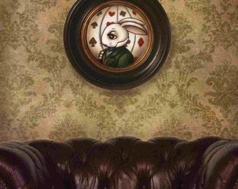 Wonderland Decorations, steampunk decorations, Alice White Rabbit wall art, art print, nursery decor, bedding, Original Artwork, big eyes