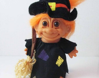 Halloween Witch Troll Orange Hair Toy Doll Broom Russ Troll 1990s