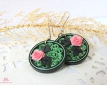 Green earrings, quilled earrings, lightweight jewelry, lightweight earrings, quilling jewelry, eco friendly