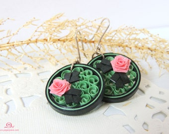 Green earrings Lightweight paper earrings Eco friendly jewelry