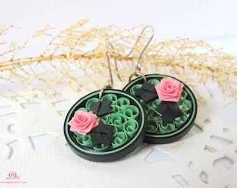 Green earrings Lightweight paper earrings Eco friendly jewelry