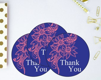 Floral Thank You Tags - Henna Favor Tags - Indian Wedding Thank You Tags - Printable Thank You Tags - Sangeet Favor Tags - Mehndi Thank You