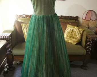 1950s green tulle ballgown with sequins