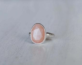 Peach Moonstone Ring - Peach Moonstone Jewelry