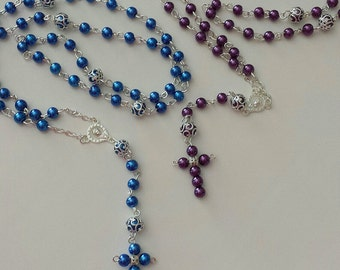 Handmade Rosaries, Baptism Gift, Graduation Gift, Catholic Baptism, Baby Shower, Confirmation, Necklace Rosaries, Rosary, Rosaries, Gift