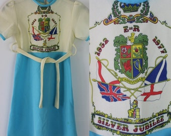 Vintage Rare 1970s Queens Jubilee 1977 Childs Girls Dress