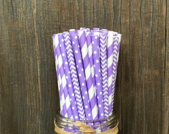 75 Lilac Dot,Stripe and Chevron Straws, Baby Shower, Girl Birthday, Easter, Spring Supply, Free Shipping!
