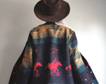 Vintage Southwestern Blanket Coat - Made in USA by American Craftsmen - Women's Size Small