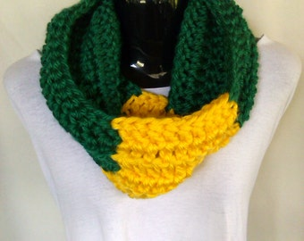 Green and Gold Crochet Cowl Scarf - Ready to Ship!