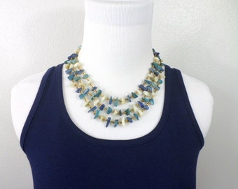 Multi Strand Blue Necklace Blue Abalone Shell Necklace Chip Necklace Japan Triple Strand White Blue Chunky Necklace Gold Bead Covered Clasp