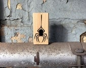 Small Spider Stamp - Wooden rubber halloween stamp, craft supplies, card making, scrapbooking, diy supplies, fall, bug