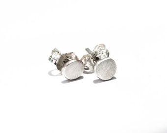 Stud earrings, oxidized sterling silver, 5mm pebble earrings, handmade ear studs, post earrings, recycled sterling silver