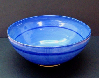 Giant bowl, ceramic bowl, large blue bowl, large handmade bowl, stoneware, high fired