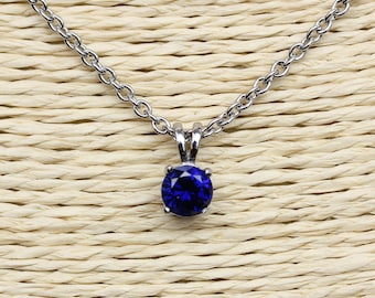 Natural Blue Sapphire Pendant Necklace - 4mm, 5mm, 6mm and 7mm sizes - Available in white gold or titanium