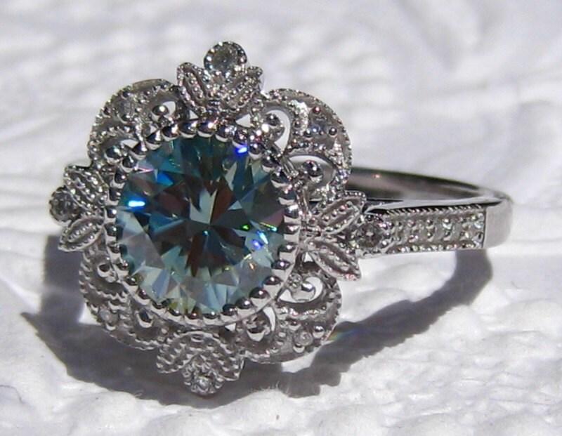 Blue Moissanite Engagement Ring Blue Moissanite Filigree