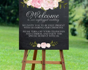 unplugged wedding sign, printable unplugged wedding sign, chalkboard wedding sign, floral wedding sign, chalkboard unplugged sign, 24x30